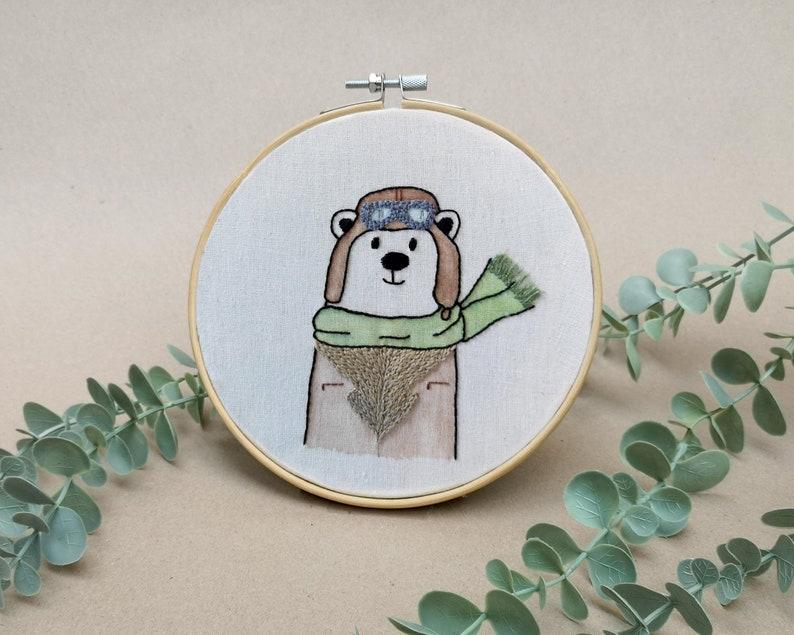 Mr Bear the aviator // modern hand embroidery // cute animal image 0