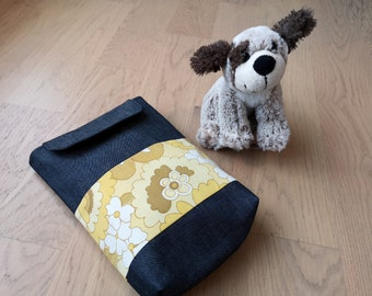 Nappy bag in yellow vintage fabric and denim // Baby bag // Diaper and wipes storage // Diaper bag // Baby changig bag // Maternity gift
