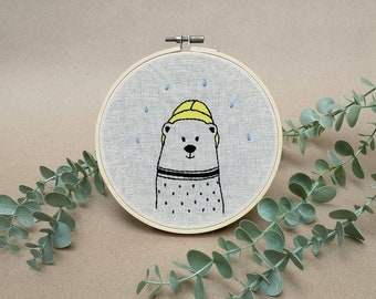 Mr Bear the fisher man // modern hand embroidery // cute animal embroidery // wall decor for nursery. entrance, living room