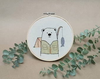 Mr Bear is camping // modern hand embroidery // cute animal embroidery // wall decor for nursery. living room, entrance // woods, nature