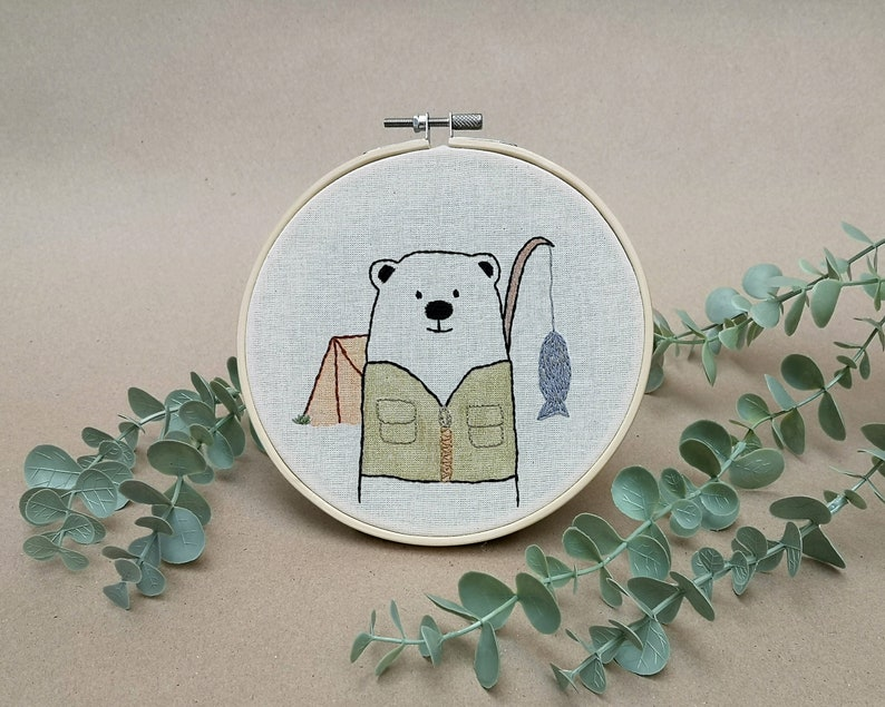 Mr Bear is camping // modern hand embroidery // cute animal image 0