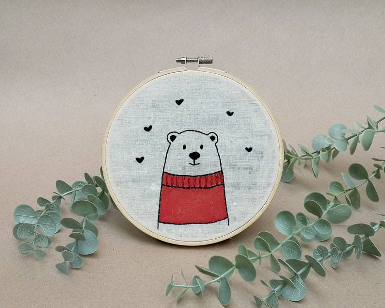 Mr Bear with red woolen sweater // modern hand embroidery // image 0