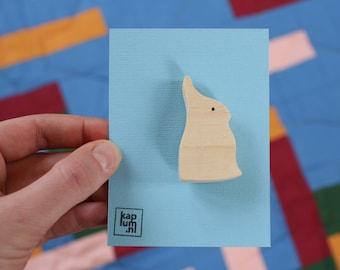 163cf6dae1a Handmade wooden brooch rabbit, wooden pin, wooden jewelry, sweet breastpin,  handmade jewellery