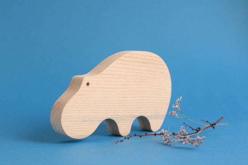 Handmade wooden hippopotamus toy wooden toy wooden animal image 0