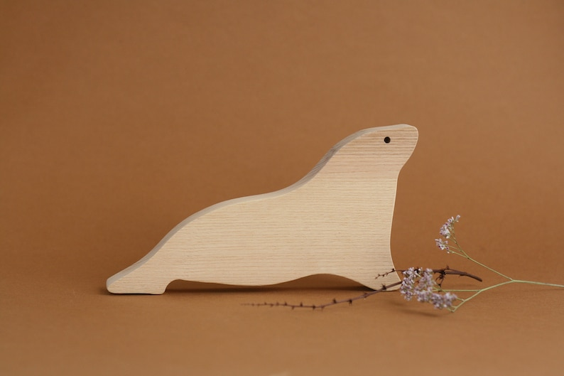 handmade wooden seal polar animals wooden toy waldorf toy image 0