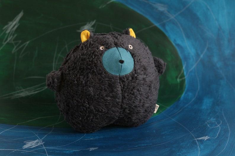 Handmade soft toy bear organic plushie baby shower gift eco image 0
