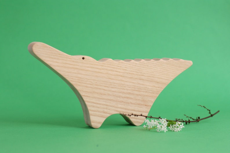 Handmade wooden crocodile toy wooden toy toddler gift image 0