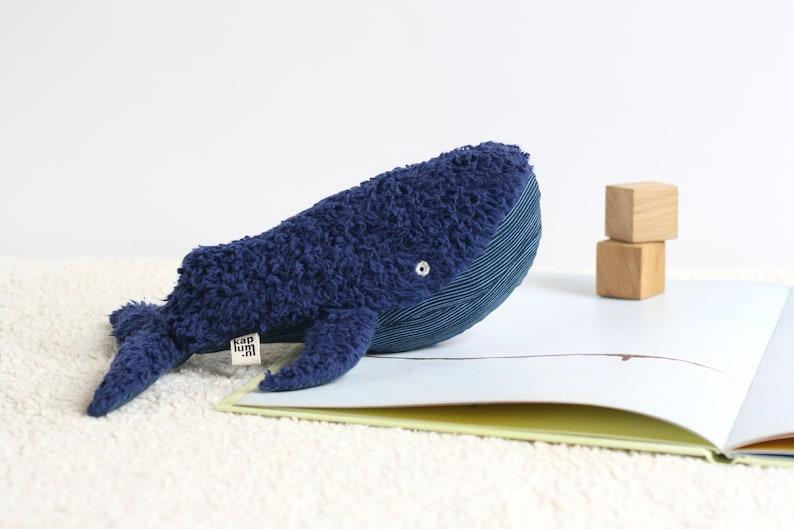 Handmade organic plush whale sustainable toy ecofriendly image 0