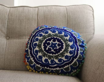 Round Blue Embroidered Cushion