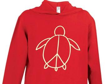 Toddler Turtle Hoodies - kids hooded sweatshirt, woodland,kids clothing, kids pullover hoodie, hoodie with pockets, toddler, peace turtle
