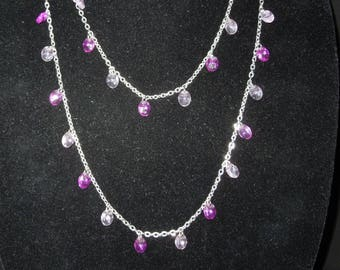 Necklace Signed by Sarah Coventry Extra Long for Single or Double Strands Silver Tone with Purple and White Dangles Vintage