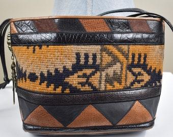 8868e21561c Handbag Sherif Made in U.S.A. Woven Cloth, Leather, and Suede Unique Design  Shoulder Bag Vintage and Retro Women s Handbags and Purses