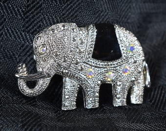 Brooch Elephant Silver Tone Granulated Setting with a Shiny Black Seat and Five Aurora Borealis Crystals as Accents Vintage Women's Jewelry