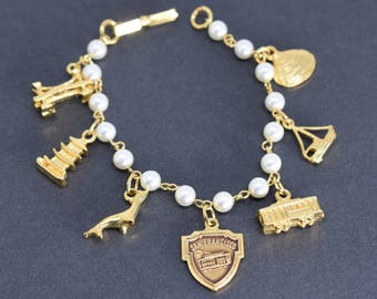 Charm Bracelet Retro San Francisco with Faux Pearls and Seven Charms and Box Clip Closure Gold Tone Vintage Womens Tourist Memento Jewelry