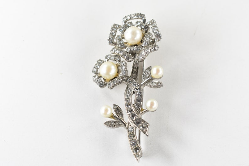 Brooch Sterling Silver and Genuine Cultured Pearls with Rhinestone Accents Vintage and Retro Women/'s Brooches Pins and Jewelry and Gifts