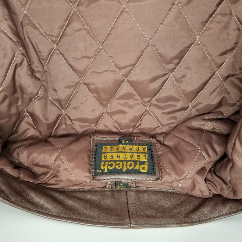 Men/'s Motorcycle Rider/'s Jacket Size 42 Brown Retro Vintage Protech Leather Apparel Quilted Lining Brass Hardware 1990s Coats Jackets