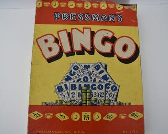 Game Pressman's Bingo by J. Pressman & Co. N.Y.  No. 3150 Complete with All Numbers, Blue Master and 30 Bingo Cards and Markers Vintage