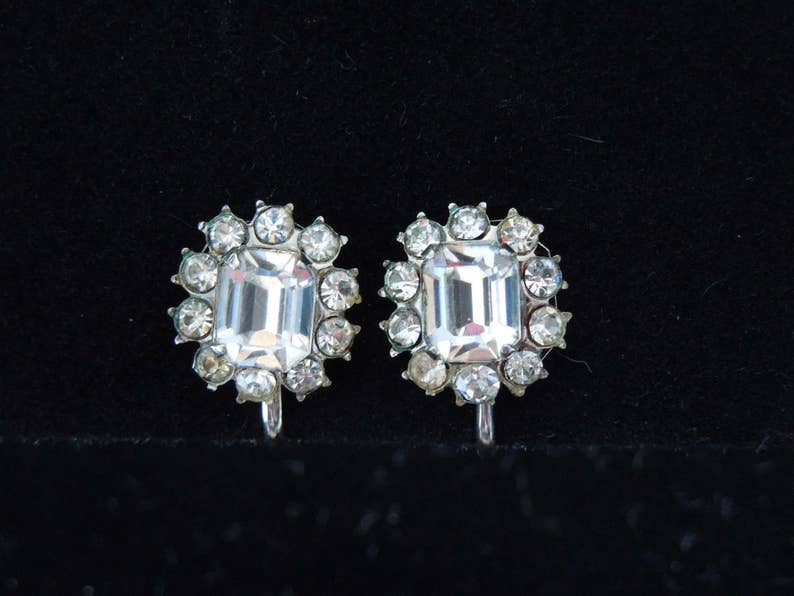 Vintage Rhinestone Circle Earrings with a Baguette set in Silver tone Screw back