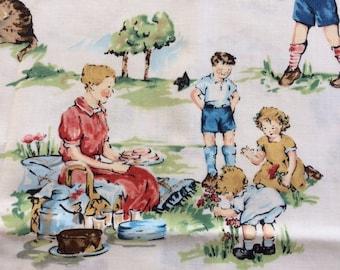 Vintage Kids Printed Fabric 1 yard Nicole De Leon for Alexander Henry Fabrics