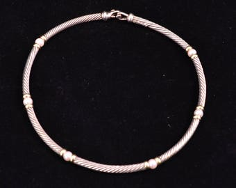 David Yurman 14K & Sterling Silver Pearl Cable Station Hampton Choker Necklace-5mm