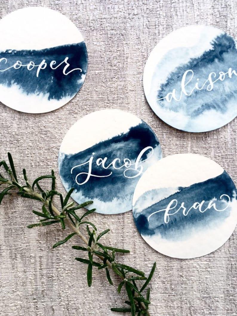 Tischkarten blau Aquarell