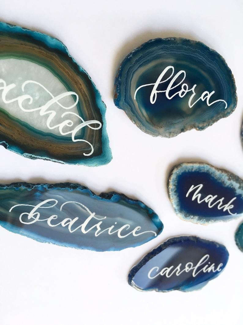 Tischkarten Achatscheiben Blau