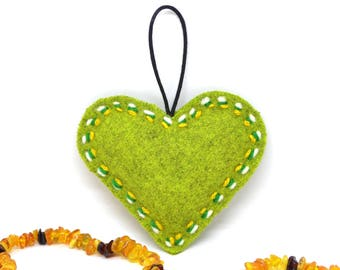 Green stuffed heart - green gift for her - wedding gift - valentines day gift for him - green heart - valentines day decor