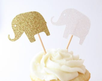 Elephant Cupcake Toppers - Elephant Baby Shower - Baby Shower Cupcake Toppers