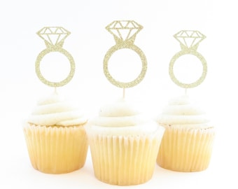 Engagement Ring Cupcake Toppers - Ring Cupcake Toppers - Bridal Shower Cupcake Toppers - Glitter Cupcake Toppers