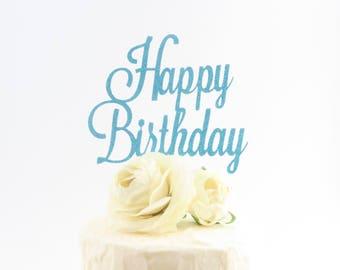 Happy Birthday Cake Topper - Glitter Cake Topper - Glitter Happy Birthday Cake Topper