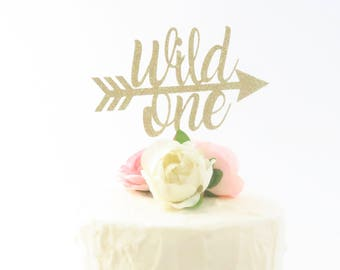 Wild One Cake Topper - First Birthday Cake Topper - Tribal Birthday - Cake Topper - Gold Cake Topper