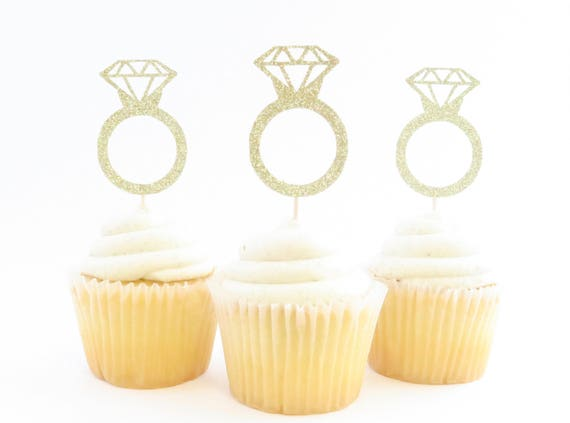 Engagement Ring Cupcake Toppers Ring Cupcake Toppers Etsy