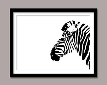 Zebra Print, Animal Digital Print, Zebra Digital Download, Animal Wall Decor, Black White Zebra, Art Prints, Printable Art, Minimalist Print