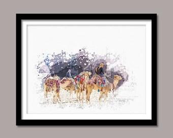 Camels Print, Camels Digital Print, Animal Printable Art, Camels Abstract Print, Animal Printable Poster, Watercolor Art, Wall Decor