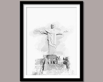 Christ The Redeemer Print, Christ The Redeemer Digital Print, Christ The Redeemer Art, Landmark Print, Black White Painting, Rio De Janeiro