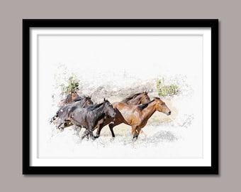 Horses Print, Horses Digital Print, Animal Printable Art, Horses Abstract Print, Animal Printable Poster, Watercolor Art, Wall Decor