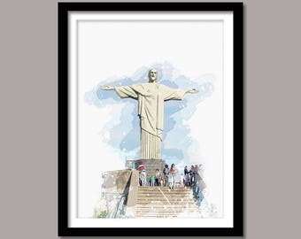 Christ The Redeemer Print, Christ The Redeemer Digital Print, Christ The Redeemer Art, Landmark Print, Watercolor Painting, Rio De Janeiro