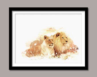 Lions Print, Lions Digital Print, Animal Printable Art, Lions Abstract Print, Animal Printable Poster, Watercolor Art, Wall Decor, Painting
