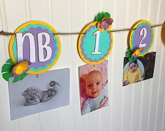 Tropical Monthly Photo Banner / Purple and Teal / Lilac Photo Banner / Luau Monthly Photos Banner / First year banner / Flower Banner /