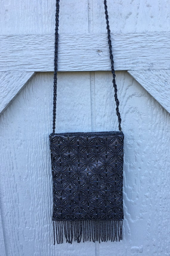 Vintage beaded evening gown shoulder bag or hangi… - image 7