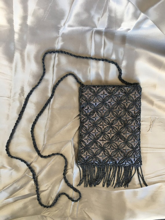Vintage beaded evening gown shoulder bag or hangi… - image 3
