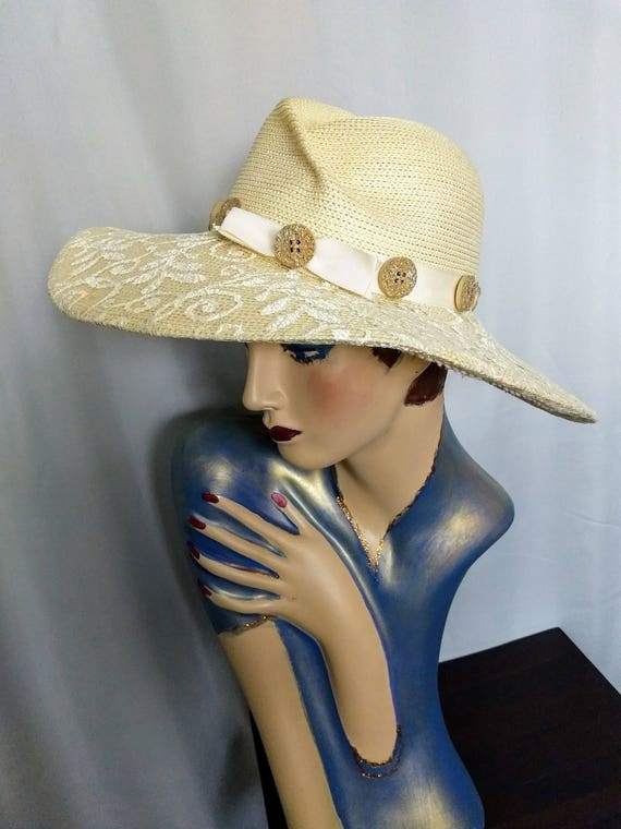 VTG  Whittall & Shon Hat/Large Brim Spring Hat/Cr… - image 1