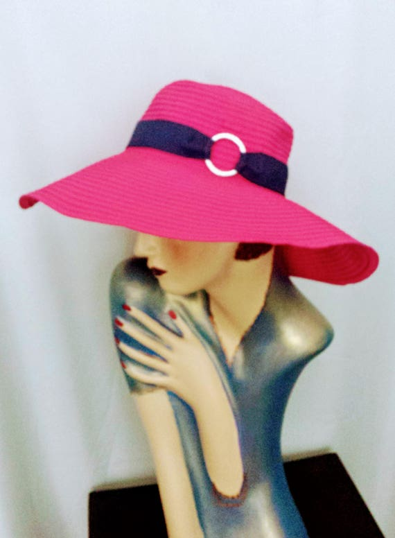 19c81581076 Ralph Lauren Hat Wide Brim Cotton Hat Pink Designer Hat Wide