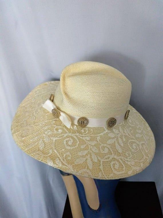VTG  Whittall & Shon Hat/Large Brim Spring Hat/Cr… - image 6