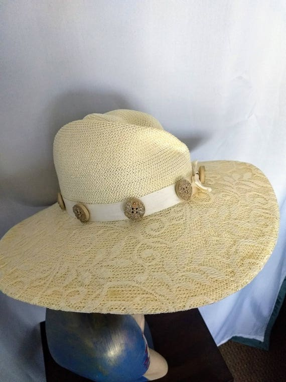 VTG  Whittall & Shon Hat/Large Brim Spring Hat/Cr… - image 8
