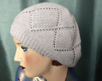 Slouchy Knit Pattern Hat/Pearl Grey Soft Knit Hat/Double Knit Winter Hat/Grey 90,s Hat/Gift for Her/No.292