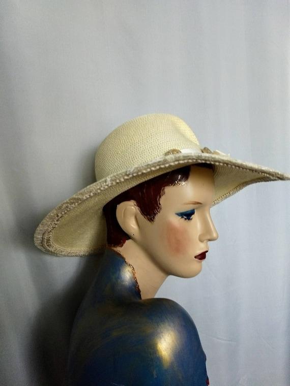 VTG  Whittall & Shon Hat/Large Brim Spring Hat/Cr… - image 4
