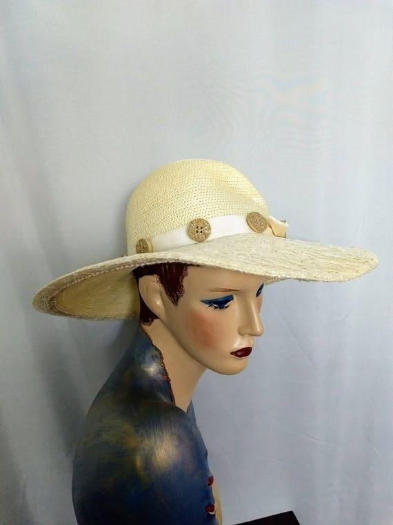 VTG  Whittall & Shon Hat/Large Brim Spring Hat/Cr… - image 3