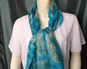VTG Mulberry Silk Scarf/ Blue Sky and Gold Silk Scarf/Long Scarf with Gold Pattern/Spring Long Silk Scarf/Blue Silk Scarf/Gift For Her/No379
