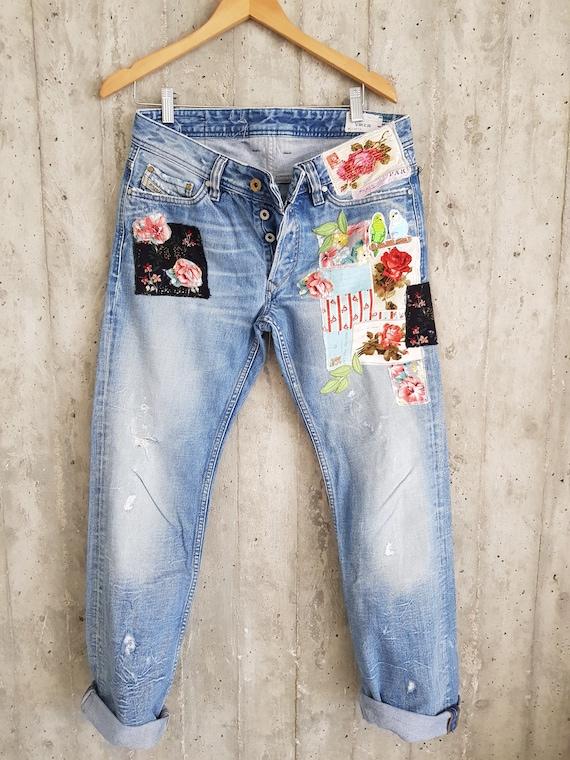 Gepatcht Denim gepatcht Jeans überarbeitet Vintage Jeans mit Patches Vintage Jeans boyfriend Jeans Marke Jeansgemalt Jeanserneuert